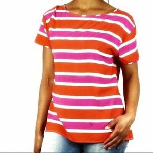 📌NWOT J. CREW Pink/Orange Striped Washed Silk Tee